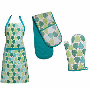 New Green Leaf Design Oven Glove Single Double Apron Kitchen