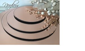 Image is loading 40cm-Rose-Gold-Glass-Mirror-Plate-Table-Decoration-  sc 1 st  eBay & 40cm Rose Gold Glass Mirror Plate Table Decoration Centrepiece ...