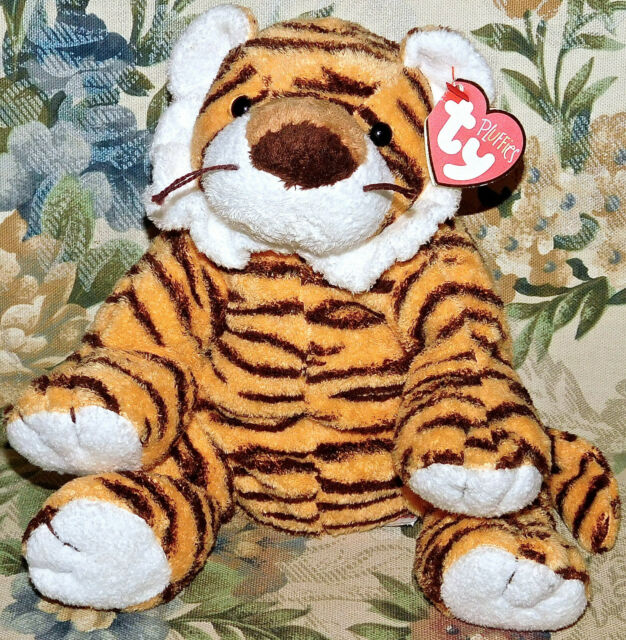 """TY Pluffies GROWLERS Tiger 9"""" New Tags NWT Stuffed Animal Toy RARE Beanie Baby"""