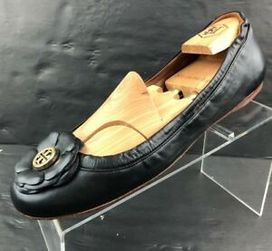 a8250e0187d Tory Burch Black Leather Chelsea Cap Toe Flats Ballet Size 10.5 M