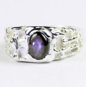 925-Sterling-Silver-Men-039-s-Nugget-Ring-Black-Star-Sapphire-SR197