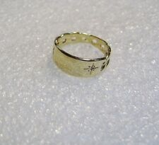 14K YELLOW GOLD CHAIN LINK BAND WITH DIAMOND RING SZ 2 1/4 N604-E