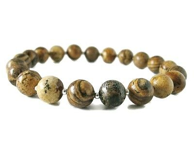 Uni Beaded Bracelet With Light Brown Picture Jasper Sterling Silver Beads Ebay