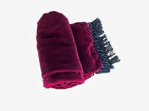 ETRO burgundy red long scarf with black fringes - 43 x 146 cm