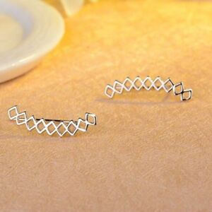 1Pair-925-Silver-Geometirc-Earrings-Ear-Stud-Climbers-Ear-Crawler-Gift-Jewelry