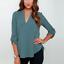 Summer-Women-Loose-V-Neck-Chiffon-Long-Sleeve-T-Shirt-Blouse-Casual-Collar-Tops thumbnail 9