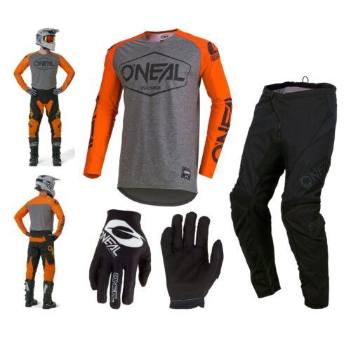 ONEAL hexx Combo 2019 Arancione ENDURO crosshose MX Jersey Guanti