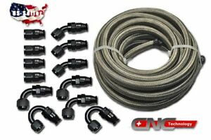 10AN-10AN-Stainless-Steel-PTFE-Fuel-Line-30FT-Black-12-Fittings-Hose-Kit-E85