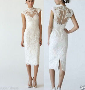 Sexy Sheath Lace Cap Sheer High Neck Sleeves Short Wedding Dresses Bridal Gowns Ebay,Beach Wedding Guest Dresses White