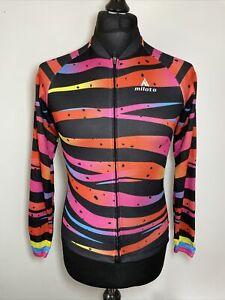 Milito Neon & Black Zebra Bright Women's Cycling Jersey Long Sleeve M VGC