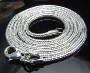 WHOLESALE-20PCS-SILVER-SNAKE-CHAIN-Men-039-s-Women-039-s-NECKLACE-16-034-24-034-2mm