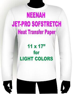 "JET PRO SOFSTRETCH INKJET HEAT IRON ON TRANSFER PAPER 11 x 17/"" 10 SHEETS"