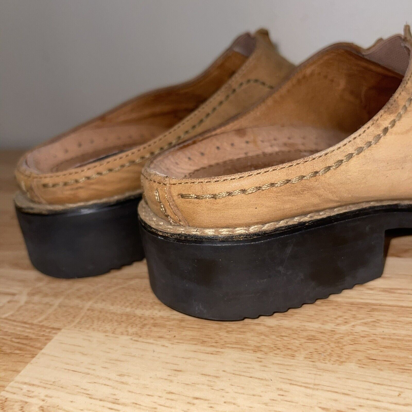 Ariat Leather Mules Clog Women's Size 7 Slip On Shoes Duratread Tan Brown
