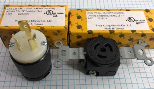 15A 3 WIRE UL LISTED 125V LOCKING PLUG /& RECEPTACLE 2 POLE NEMA L5-15