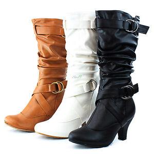 Fashion-Mid-Knee-High-Cowboy-Pump-Kitten-Heel-Ankle-Strap-Casual-Dress-Boot-Shoe