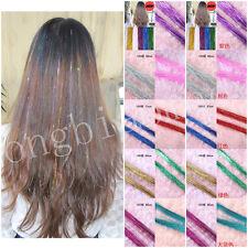 Women Purple Glitter Tinsel Laser Hair Extension Accessories 100 Pieces Hairline