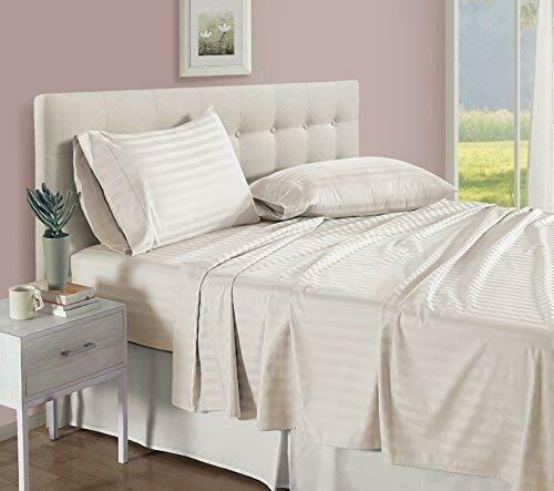 BEST BEDDING COLLECTION 100% Egyptian Cotton 1000 TC USA Dimensiones Ivory Stripe