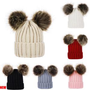 UK-Kids-Baby-Boys-Girls-Beanie-Hat-Cap-Winter-Warm-Double-Fur-Pom-Bobble-Knit-OT