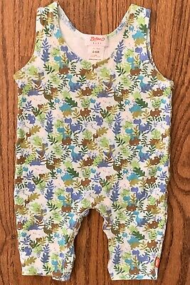 ZUTANO Size 3 M Month One Piece Romper Body Suit Enzos Elephant Henley NEW Blue