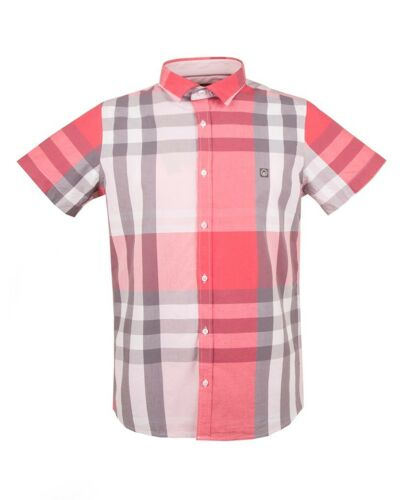 New Duck And Cover Cecil Crystal Pink Short Sleeve Casual Shirt Checked Designer