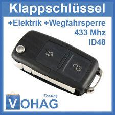 VW 2 Tasten Klappschlüssel 433mhz & Rohling & Transponder 1J0959753N Volkswagen
