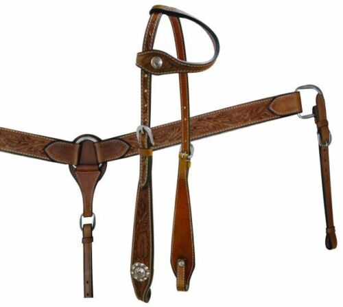Western Saddle Horse One Ear Leather Tack Set Bridle Headstall w//Breast Collar