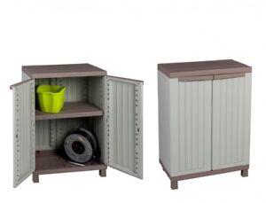 2x kunststoffschrank grau 92x68x39 cm garten haushalt garage balkon holzdesign ebay. Black Bedroom Furniture Sets. Home Design Ideas