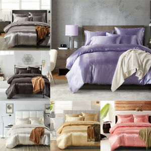 Satin-Silk-Bedding-Set-Duvet-Quilt-Cover-Pillow-Case-Flat-Sheet-Twin-Queen-King