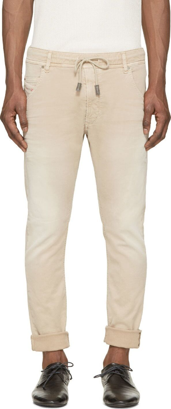 Men's DIESEL Krooley Jogger Beige Joggjean Jogg Sweat Leg Jeans Pants New