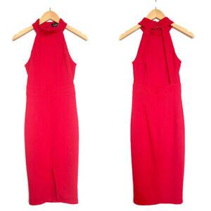 LULUS-Women-039-s-Outstanding-Features-Red-Midi-Dress-Open-Back-Halter-Neck-SIZE-S