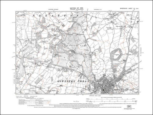 Oswestry north old map Shropshire 1929 12SW repro
