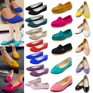 Womens-Ladies-Ballerina-Ballet-Dolly-Pumps-Slip-On-Flat-Boat-Loafers-Shoes-Party