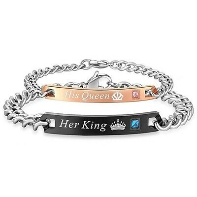 His Queen Her King Stainless Steel Matching CZ Couple Bracelet Jewelry 2 PC Set