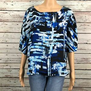 New York & Co. Abstract Print Dolman Sleeve Blouse Shirt MEDIUM Blue White Black