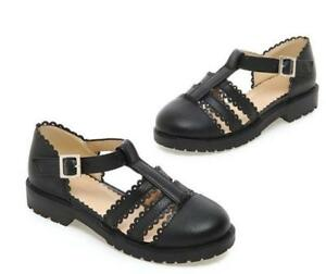 Womens-Brogue-Lolita-Baotou-flat-heeled-Low-Heels-T-strap-Buckle-Creeper-Shoes