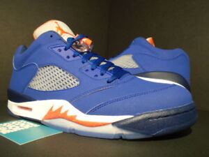 3cf343de2a6 NIKE AIR JORDAN V 5 RETRO LOW NEW YORK KNICKS ROYAL BLUE ORANGE ...