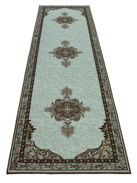 Persian Medallion Spa Blue Area Rug