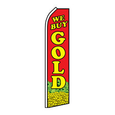 We Buy Gold Advertising Flutter Feather Flag Swooper Banner Cash For Jewelery