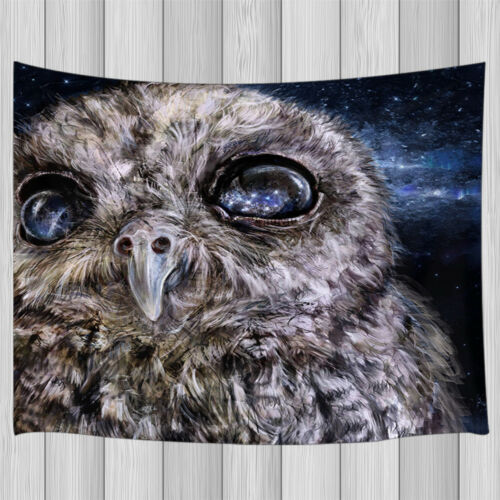 Starry sky and owl closeup Tapestry Wall Hanging Living Room Bedroom Dorm Decor