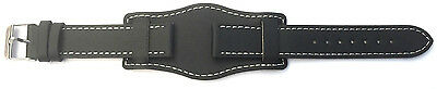 20mm Black Genuine Quality Leather Military Cuff Watch Strap Band with Pins