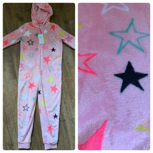 M/&S Girls Pink Soft star design all in one nightwear Pjs age 11-12 Years NEW BNW