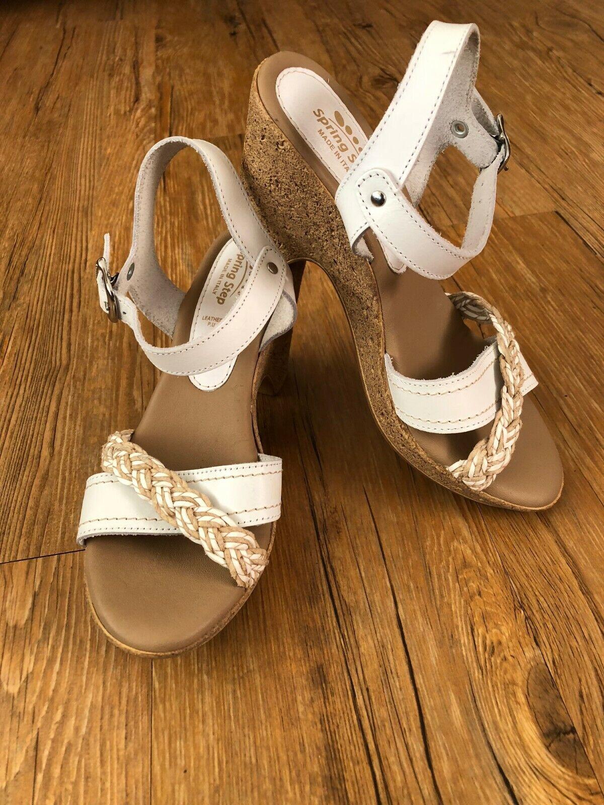 Spring Step Italy White Jute Braid Cork Wedge Leather Sandal 36/6 Never Worn