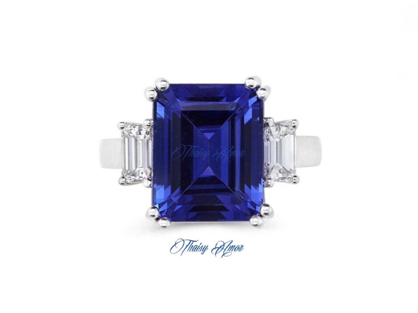 8.00 CT Lab Sapphire And Simulated Side Diamonds Engagement   Coctail  Ring