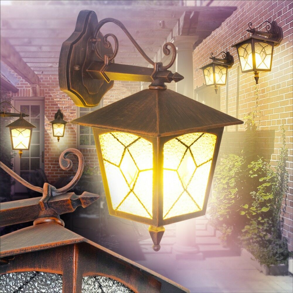 Lámpara de parojo clásica lámparas de parojo exterior Luces de muro jardín patio antiguo porche