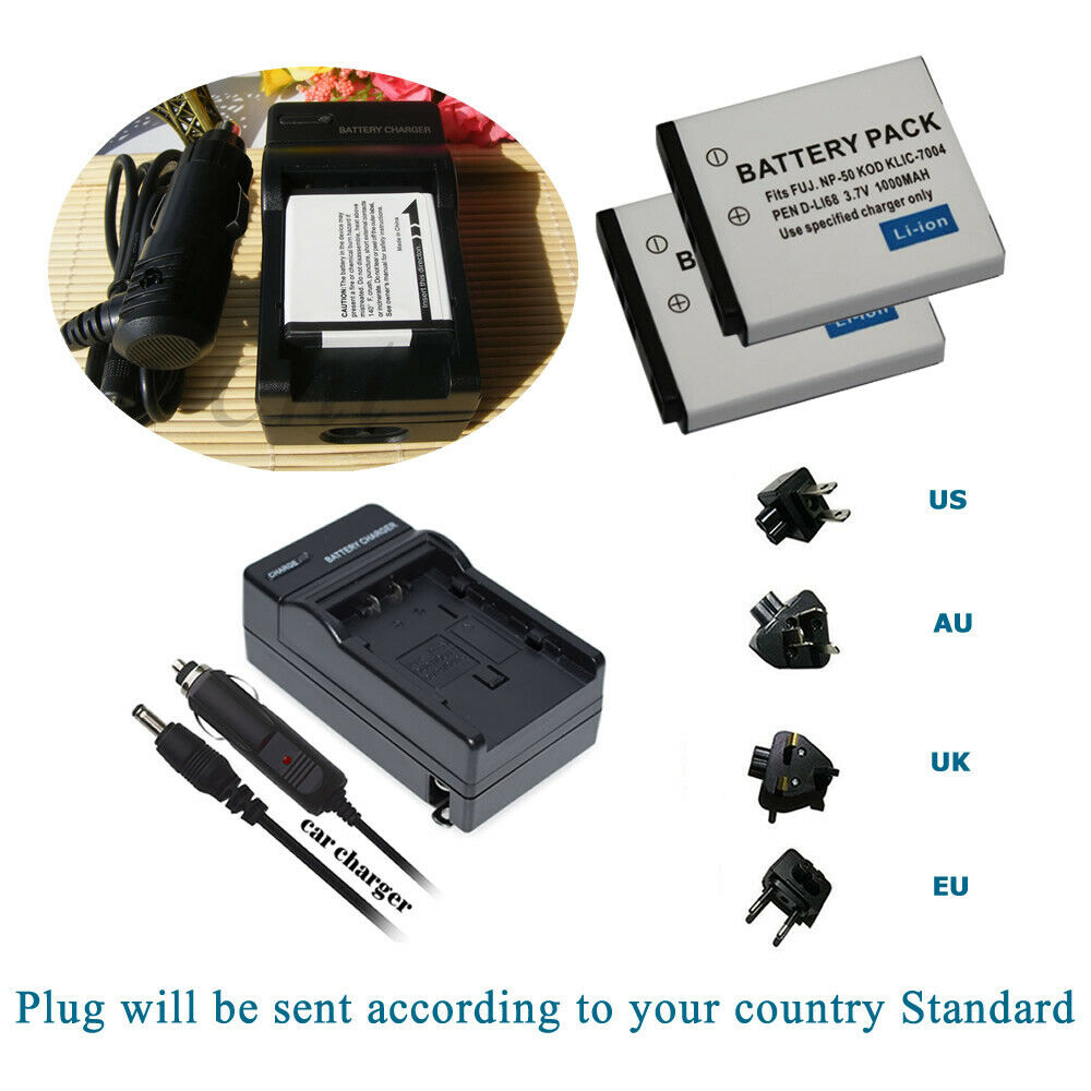 2 Battery +AC&DC Charger for OEM RICOH WG-M2 WGM2 Waterproof Action Camera
