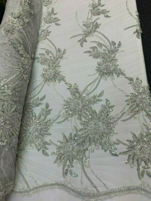 3D SILVER FLOWER FLORAL LACE FABRIC DIAMONDS /& BEADED EMBROIDERY BY THE YARD