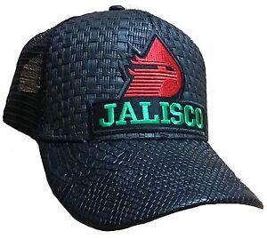d3e4aa31b3a71 JALISCO PEMEX MEXICO HAT BLACK GORRA DE PALMA VISERA DE PIEL SNAP ...