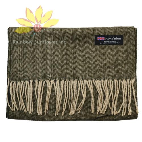 Men Women unisex 100%CASHMERE Scarf Pure Plain thick stripe Wool SCOTLAND brown