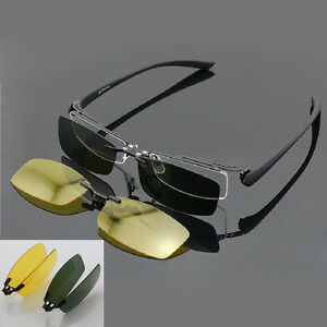 Magnet-Polarized-Clip-on-half-rim-Eyeglasses-Frame-Night-Driving-sunglasses-Rx