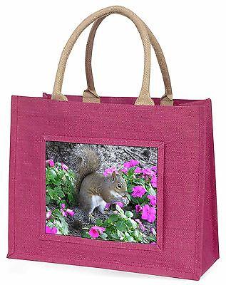 Eichhörnchen von Blumen Große Rosa Einkaufstasche Weihnachten Geschenkidee,